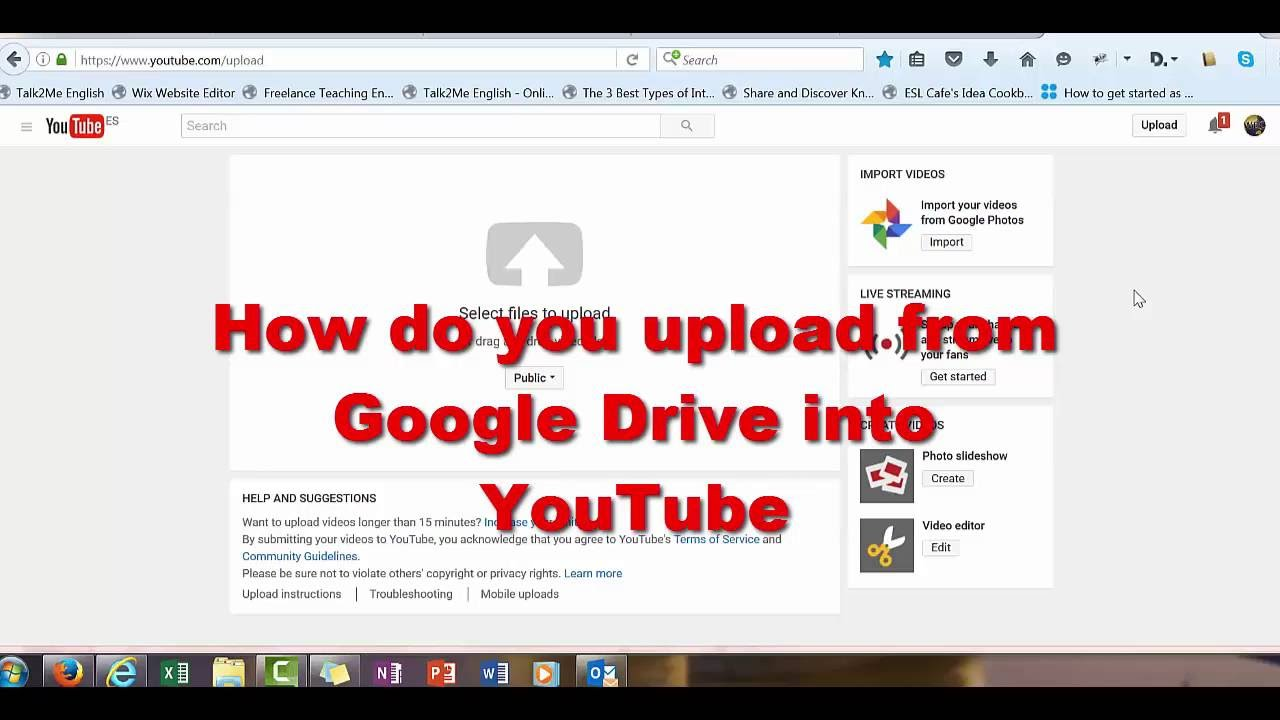 How To Upload Videos From Google Drive Into Youtube Youtube