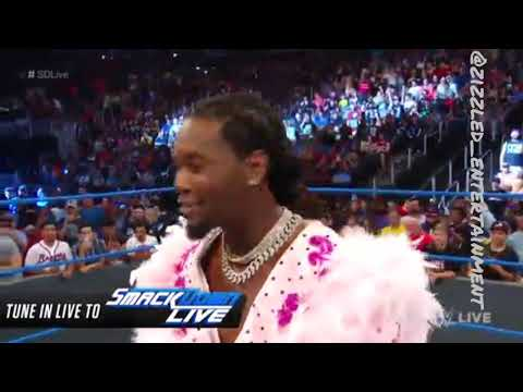 Offset Channels Ric Flair in Pink Feathery Robe for WWE's Smackdown