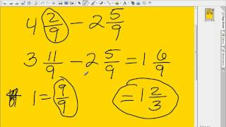 Fractions-Subtraction with like and unlike denominators