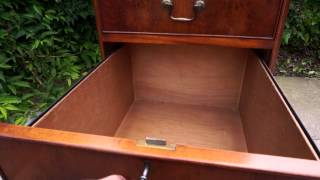Large Brown Leather Top Yew Wood Filing Cabinet Three Drawer