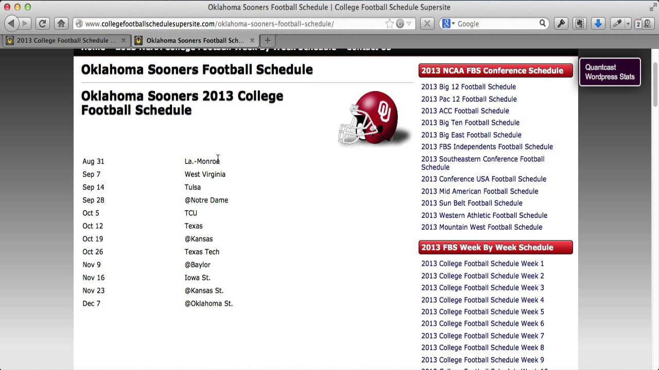 2013 College Football Schedule Youtube