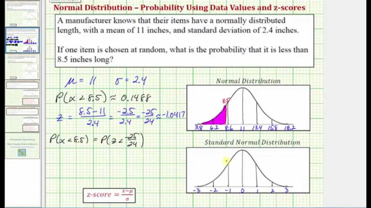 Ex 1: Find A Probability Using Ti84 Given A Data Value Involving A Norm Dist