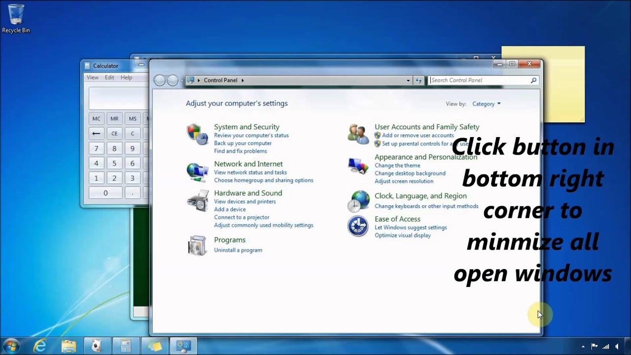 View Error Log Windows 7: Windows 7: Minimize All Open Windows