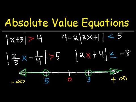 Solving Absolute Value Equations and Inequalities - Number Line & Interval Notation - Algebra