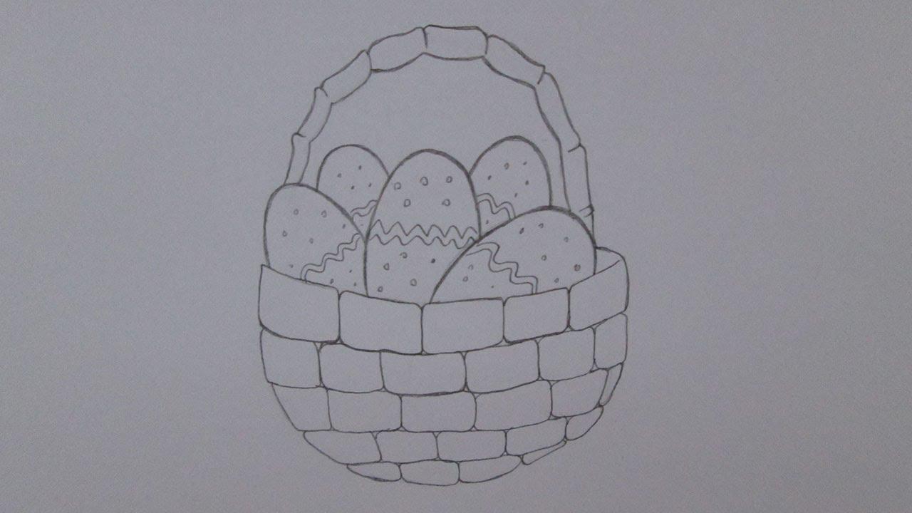 Cómo dibujar una canasta con huevos de Pascua - YouTube