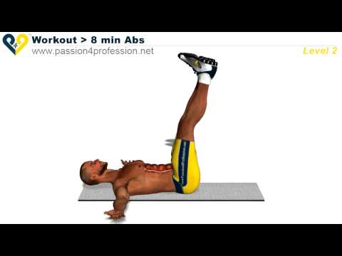 Cviky na břicho LEVEL 2. (Exercises for belly) 8 minutes