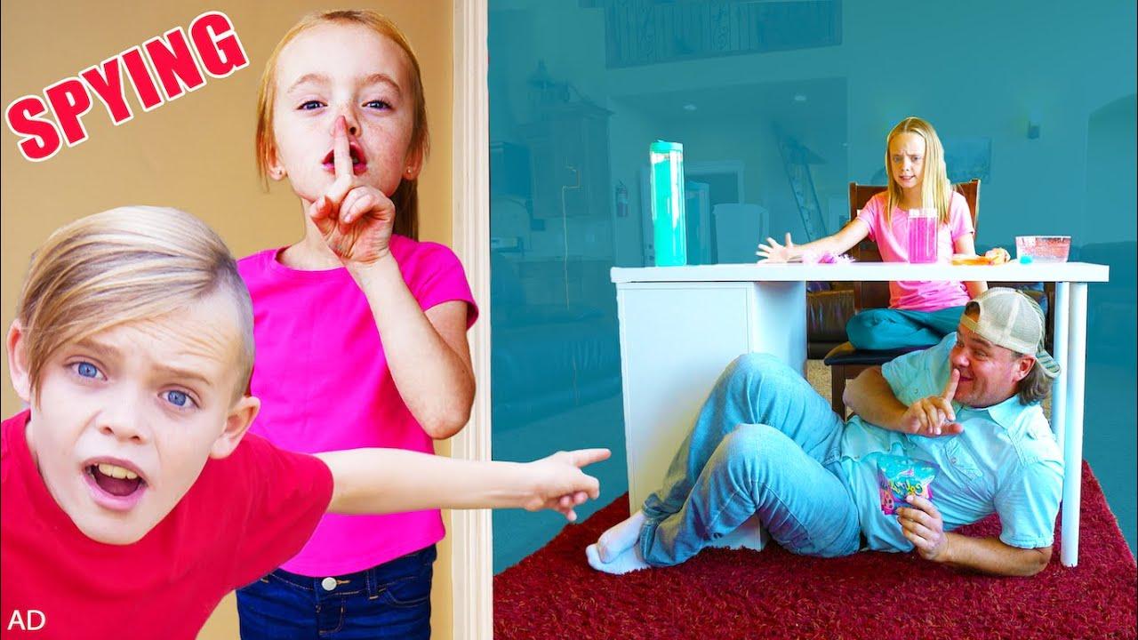 Spying on Jazzy to Sneak Surprise Toys! Kids Fun TV!