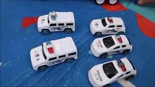 BiBo TV:Police car toy go on dinosaur mat bibotv  tiny town english cartoon tiny trucks construction