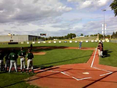 Cailin Bloom singing National Anthem at Walla Walla city baseball tournament