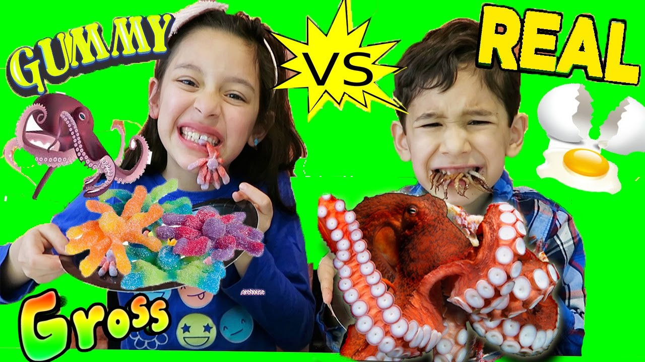 Real Food Vs Gummy Food Challenge Super Gross Real Food