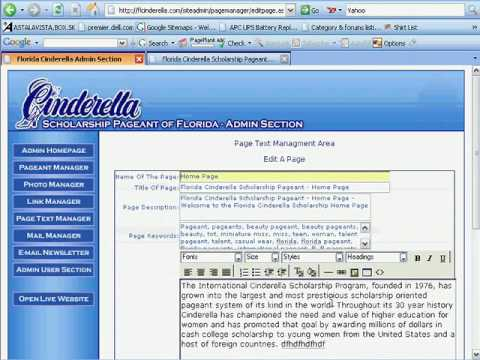 Page Text Manager for Florida Cinderella - Developed by Pensacola Web Designs