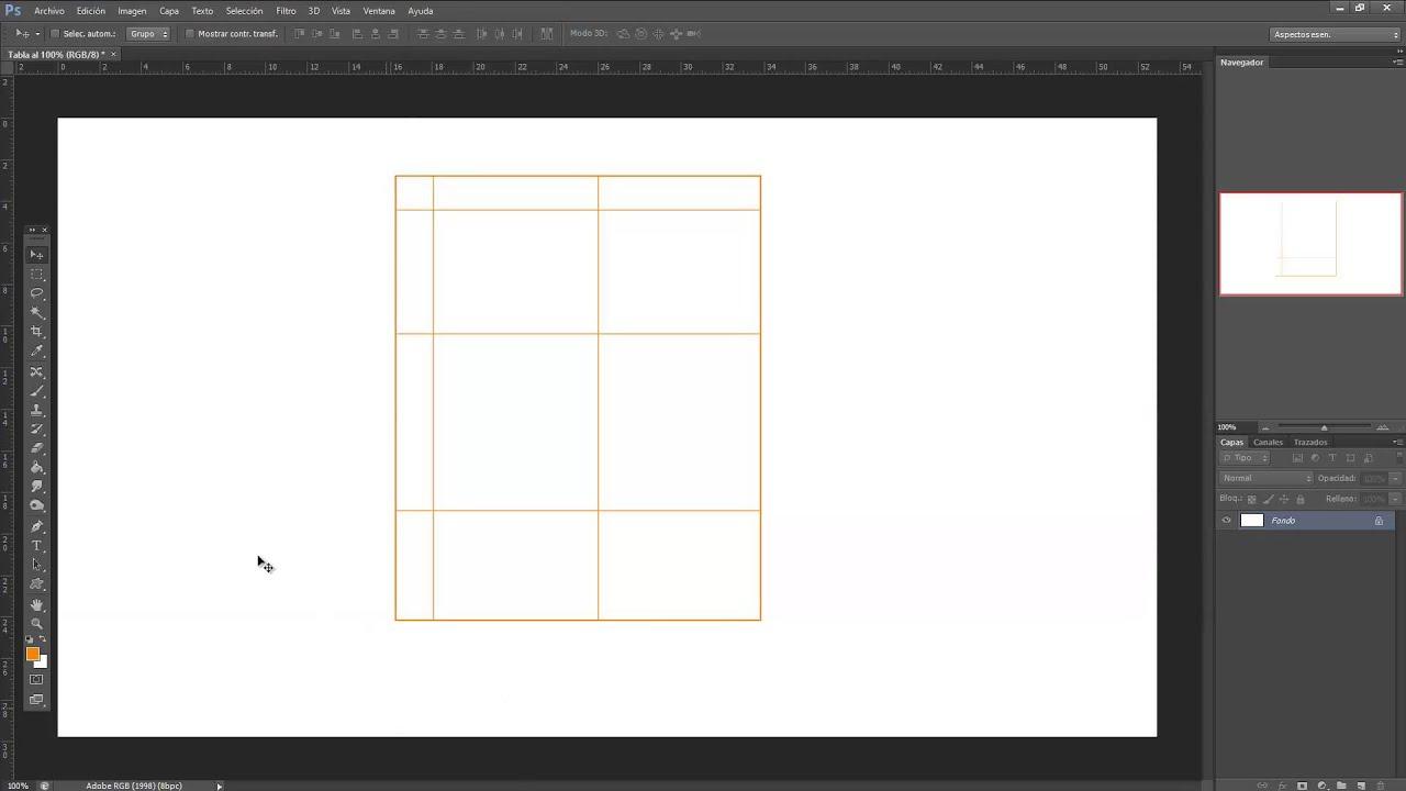 Como hacer una tabla con photoshop? - YouTube