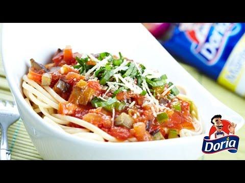 spaghetti mantequilla berenjenas pimentones