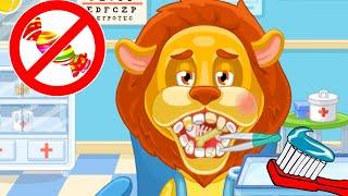 Маленький Доктор для Животных Лечим Зубы Льву Видео для детей