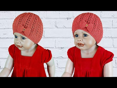Ажурные детские шапочки спицами