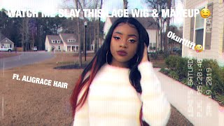 Watch Me Slay This Lace Wig From Start To Finish😻 Ft.Aligrace Hair + Makeup Tutorial🤤