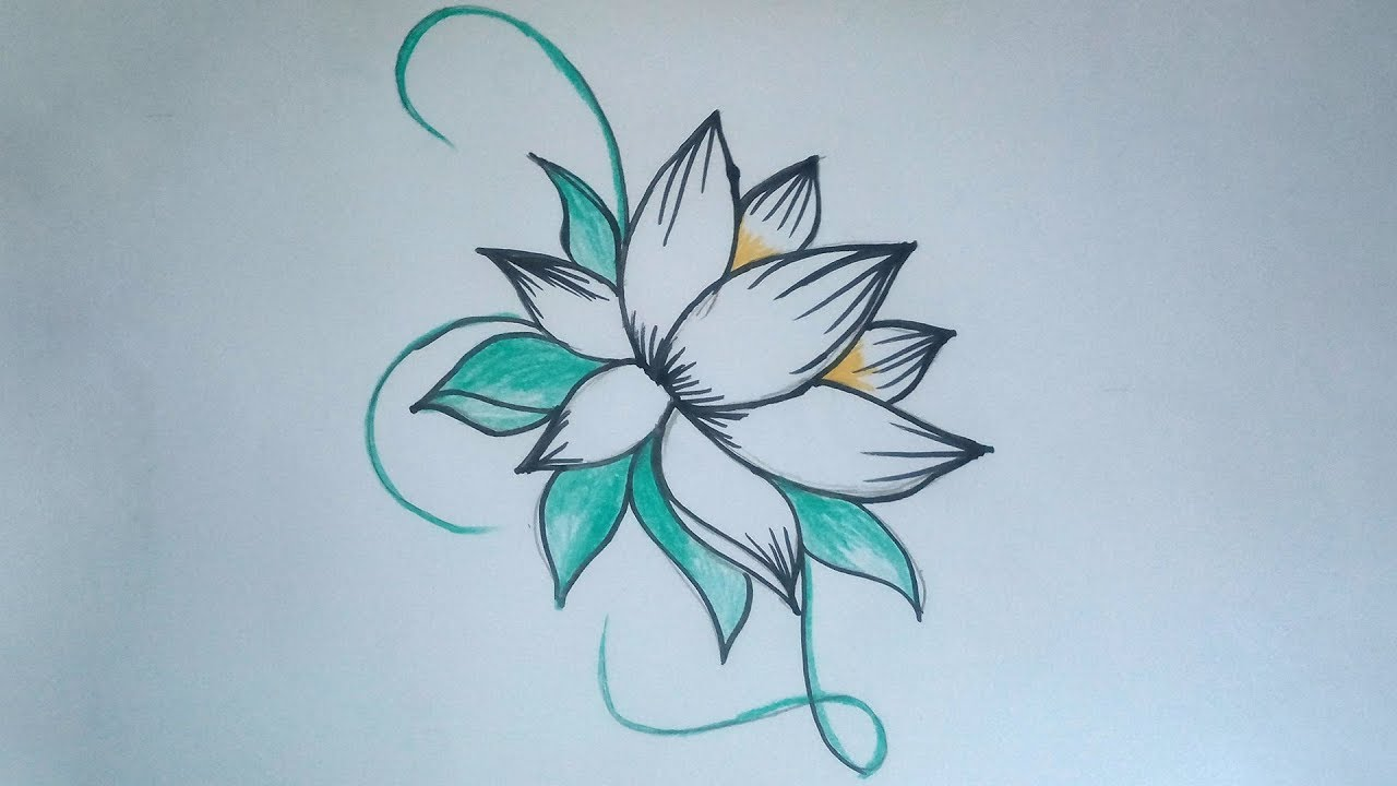 How To Draw Beautiful Flower Drawing Simple Flower Designs With Coloring Pencil Youtube