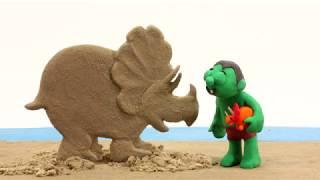 Sand dinosaur 💕Superhero Play Doh Stop motion cartoons