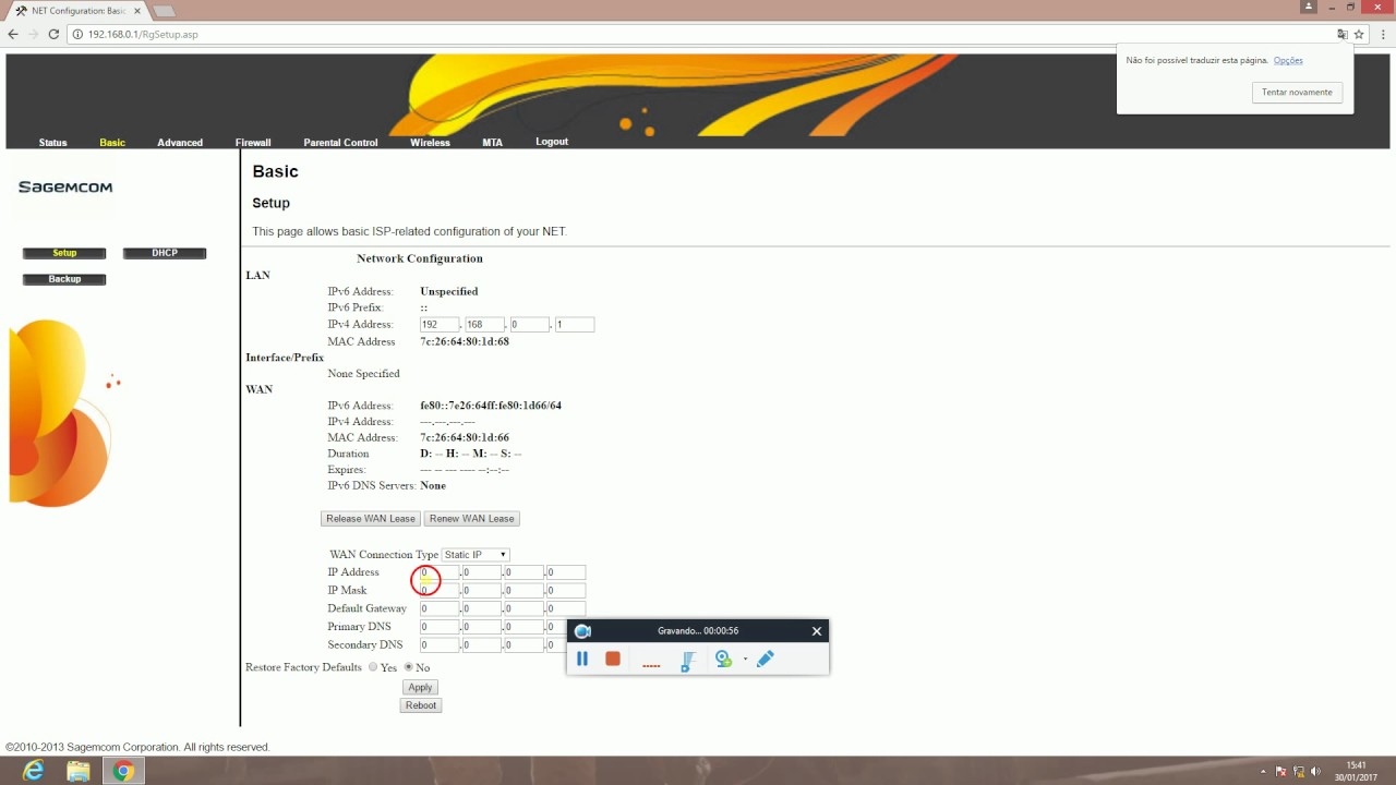 MODEM Sagemcom F@st 3284u- Como configurar IP-fixo - #Dica de campo