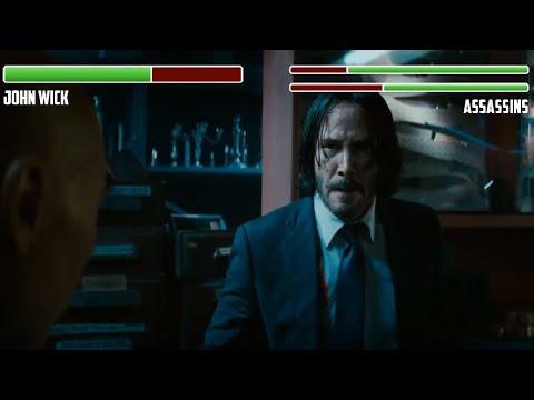 John Wick Vs. Assassins WITH HEALTHBARS | Knife Shop Fight | HD | John Wick 3: Parabellum