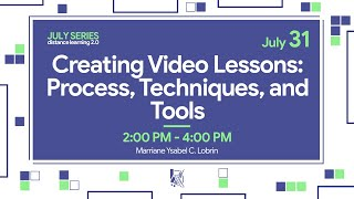 Creating Video Lessons: Process, Techniques and Tools