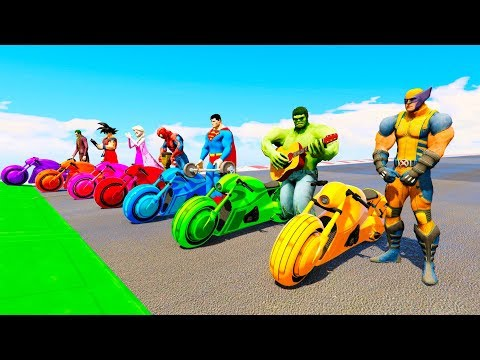 Thumbnail: LEARN COLORS AND NUMBERS Superhero on Glowing Bike Animation cartoon for Kids