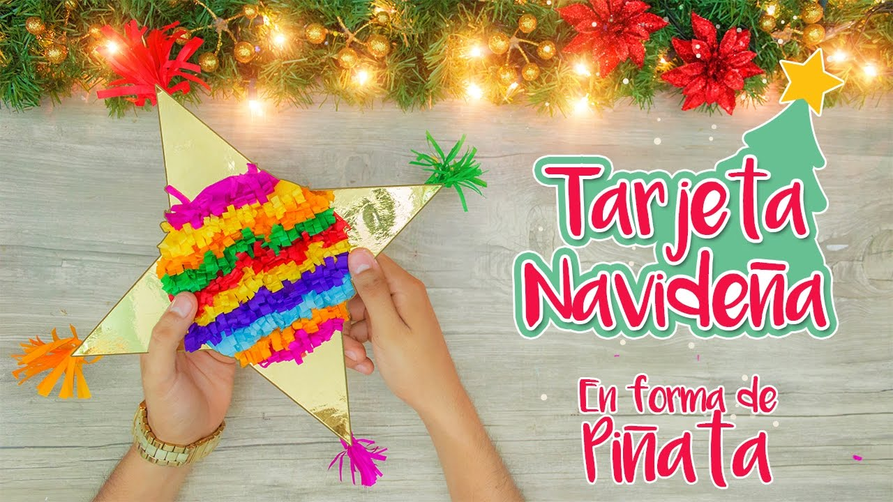 Diy tarjeta navide a en forma de pi ata especial de - Tarjetas de navidad artesanales ...