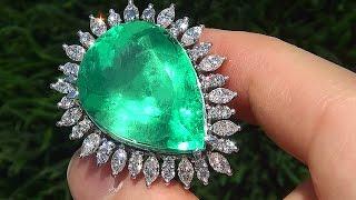 Estate 38.06 ct Colombian Emerald & Diamond PLATINUM Ring - A131546