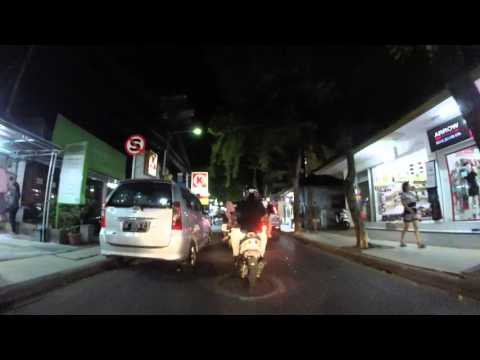 Driving scooter in Bali at night