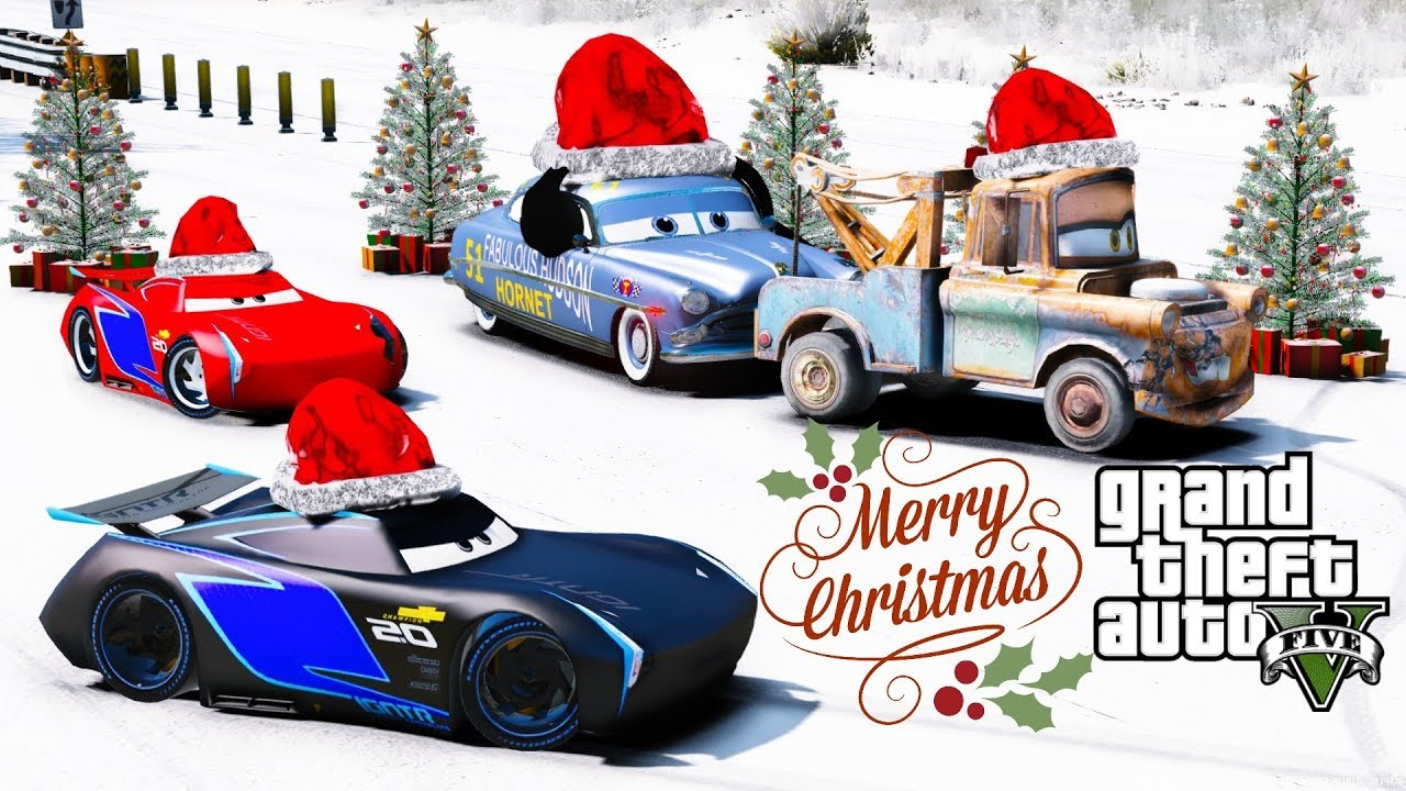 Disney Cars Christmas Decorations.Gta 5 Disney Cars Christmas Racing Mod Jackson Storm Vs Doc Hudson Merry Christmas Happy Holidays