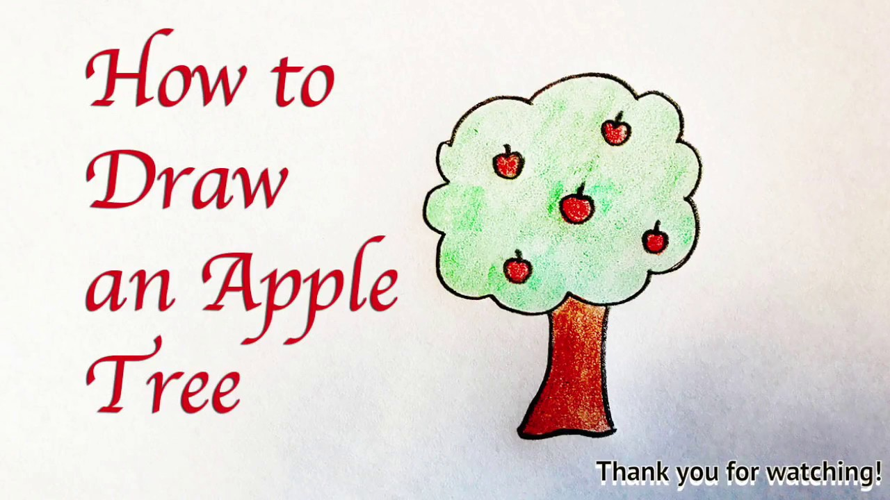 Drawing for Kids : How to Draw an Apple Tree - YouTube
