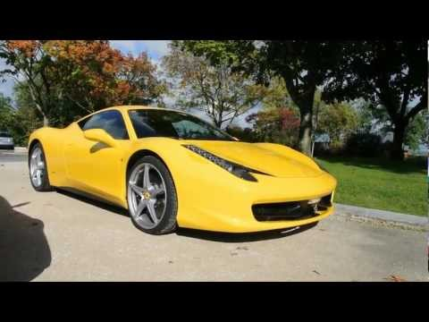 Yellow and red Ferrari 485 Italia