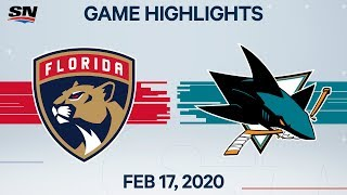NHL Highlights | Panthers vs. Sharks - Feb. 17, 2020