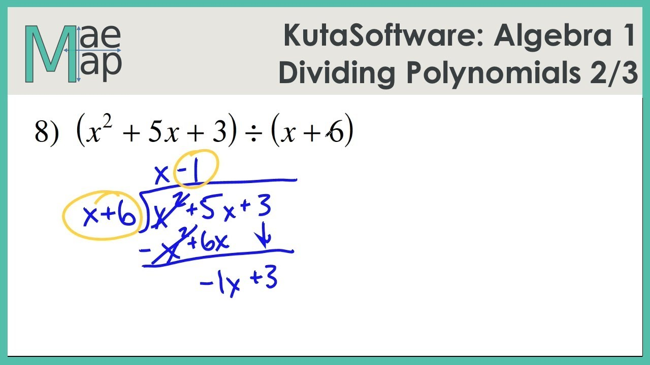 Kutasoftware Algebra 1 Dividing Polynomials Part 2 Youtube