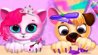 Котенок и собачка в САЛОНе для ЖИВОТНЫХ Супер МАНИКЮР Мультик игра Развлекательное видео для детей