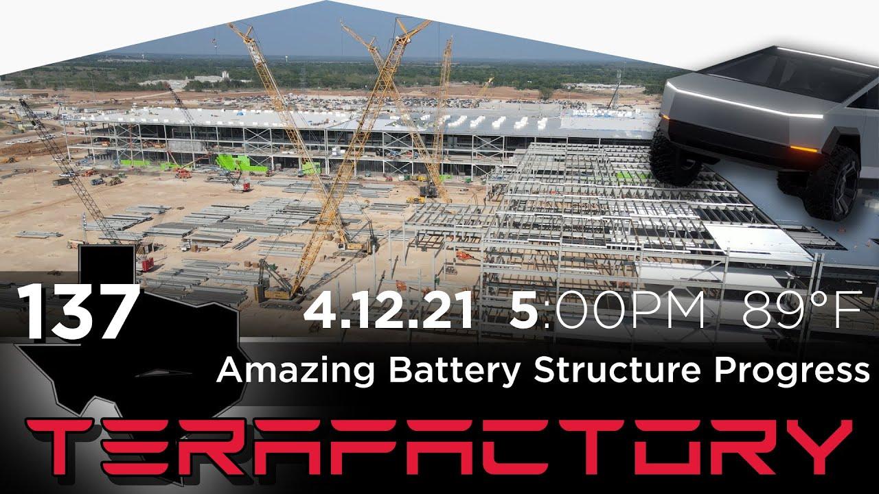 Tesla Terafactory Texas Update #137: Amazing Battery Structure Progress - 04/12/21 (5:00pm | 89°F)