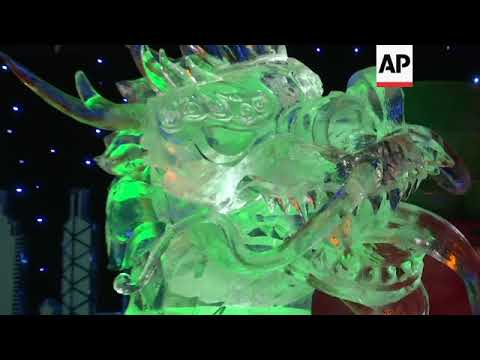 International artists carve ice sculptures for festival near Berlin