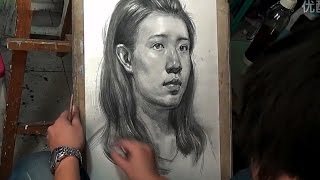 Drawing a Girl Portrait in Class