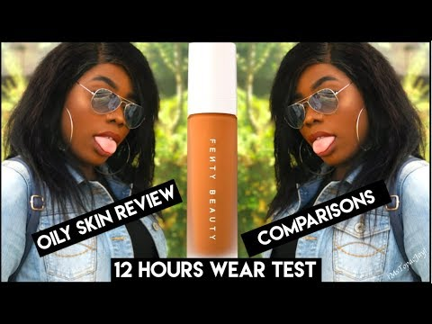 FOUNDATION TEST #22 FENTY BEAUTY FOUNDATION REVIEW, FOR OILY SKIN? SWEAT PROOF? | 12 HOURS WEAR TEST