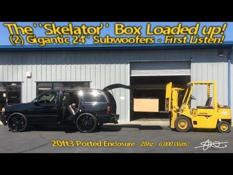 """The """"Skelator"""" Box Loaded up! 2 MASSIVE 24"""" Sundown Subwoofers In Vehicle Test Listen - IT'S LOUD!"""