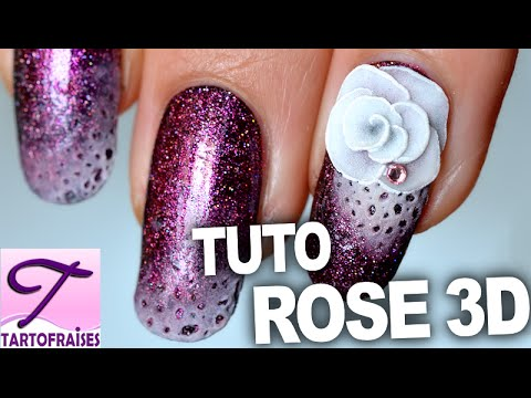 Id E Nail Art Tuto Rose Lunaire En R Sine 3d Youtube