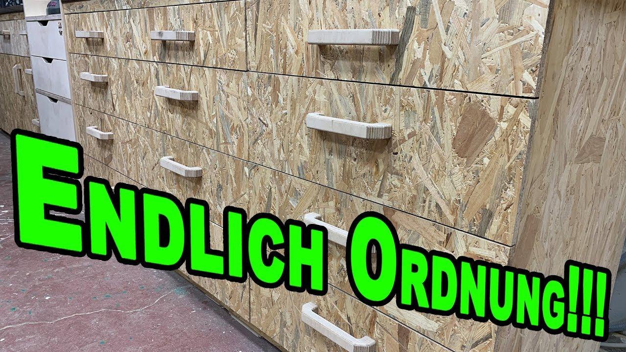 OSB Werkstattschrank mit Schubladen unter der Werkbank (1/2) - YouTube