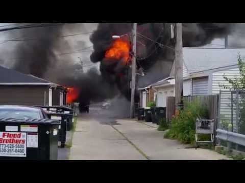 4 garages on fire, July 26, 2015. Elmwood Park, IL