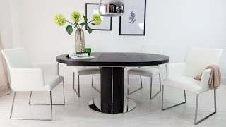 Round Extending Dining Table And Real Leather Dining Chairs