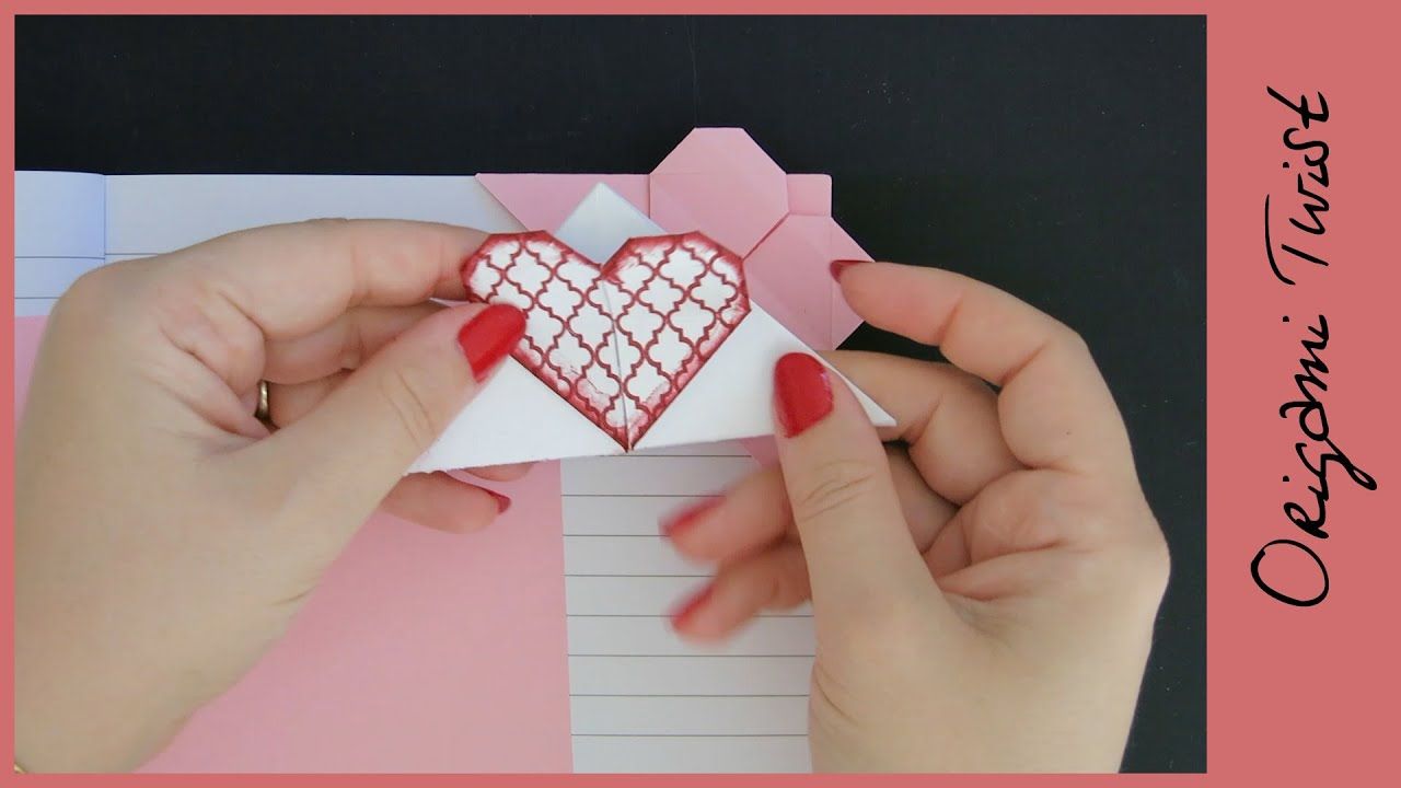 DIY CORNER HEART BOOKMARK - YouTube - photo#40