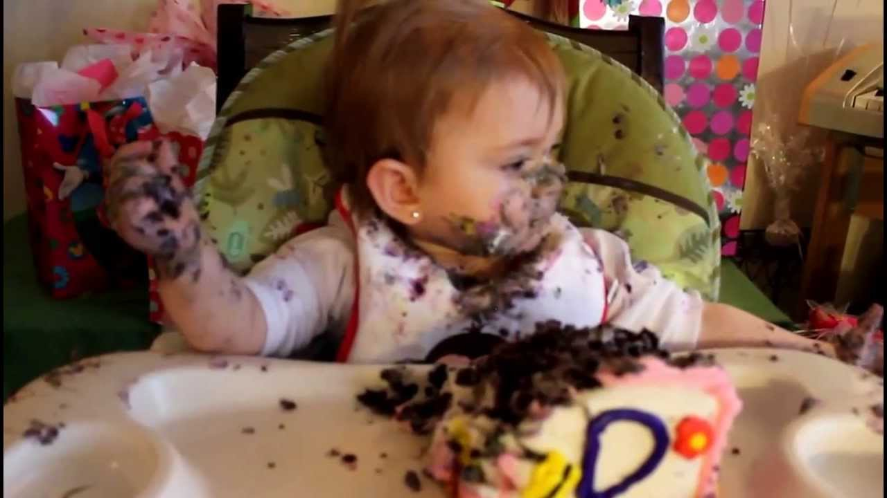 Baby first birthday cake (very funny eating) - YouTube