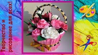 как сделать корзинку с розами 1 часть