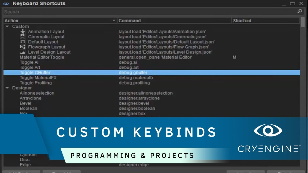 How to create custom keyboard shortcuts in CRYENGINE | Programming &  Projects