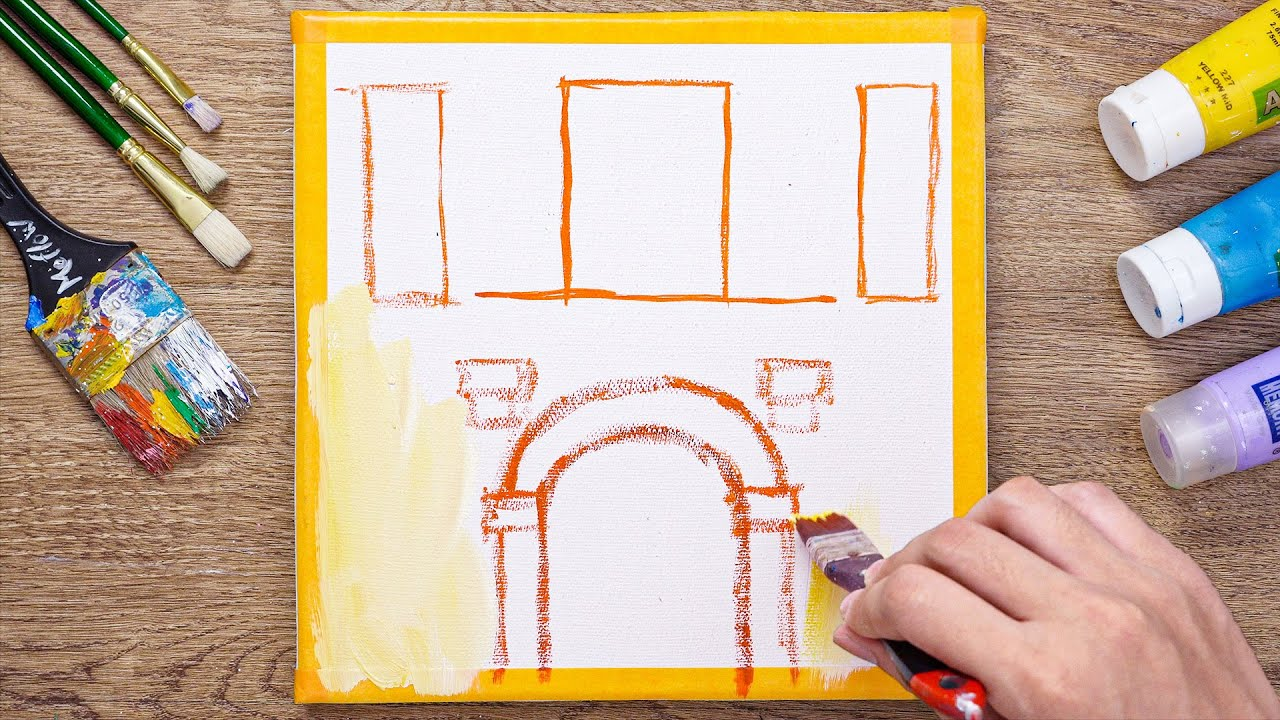 Easy painting for the beginners/Flowers in the Window on a Balcony Painting -Daily art 98
