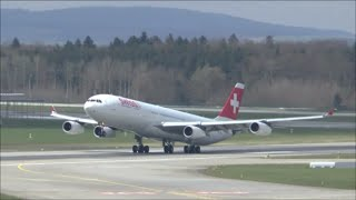 [HD] Swiss A340-300 heavy takeoff at Zurich Airport - 03/04/2015